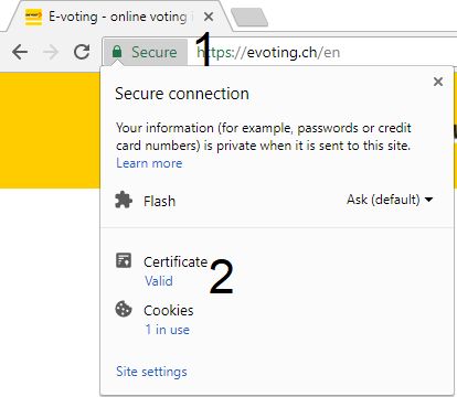 Print screen for certificate authentication in Chrome steps 1 and 2