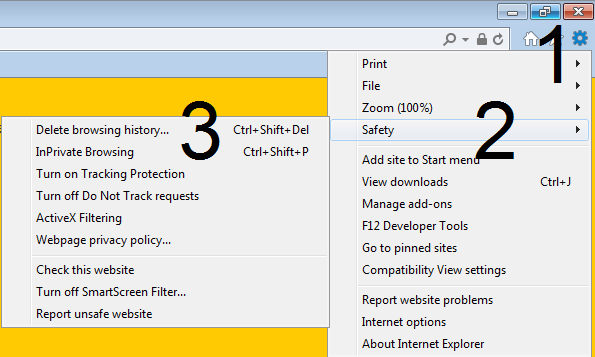 Print screen for deleting browser history in Internet Explorer steps 1, 2 and 3