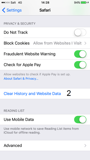 Print screen for deleting browser history in iOS step 2
